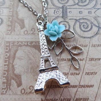 Charming Paris Necklace Eiffel Tower Branch Charms and by Beadix