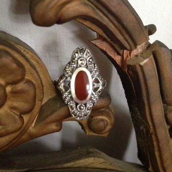 Victorian Carnelian Ring size 6 Cabochon Marcasite Sterling Silver Filigree Millegraine  Antique