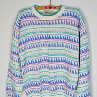 90s Sweater Jumper Triangle Oversize Soft Grunge Hipster Turquoise Lilac Vintage Womens Clothing Large Textured Patterned