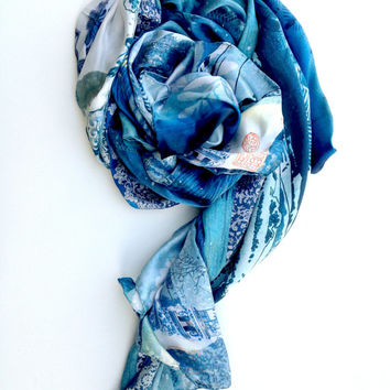 Stunning Japanese art large silk satin scarf / wrap Winter or Summer gift Blues feels great on