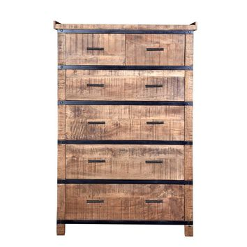 Modern Artisan Crafted Wood & Metal Sneha Dresser/Chest of Drawers