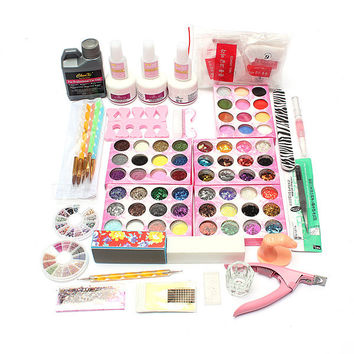 Professional 60 Colors Acrylic UV Powder Glitter Glue Nail Art Tool Kit Set