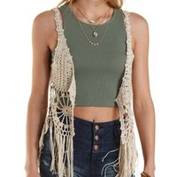 Fringe-Trim Open Knit Vest by Charlotte Russe