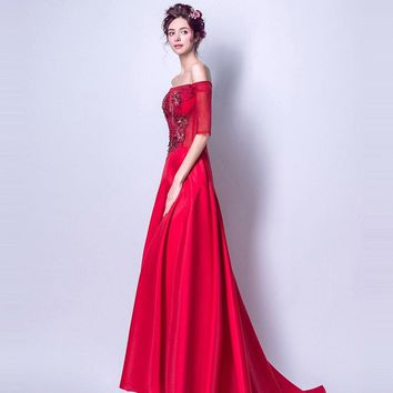 Red Boat Neck Lace Up Prom Gowns Embroidery Floor Length Party Dresses Formal Dresses