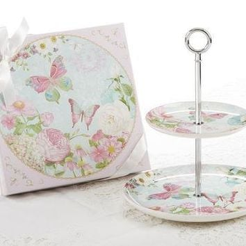Butterfly 2 Tier Cake Stand - Gift Boxed