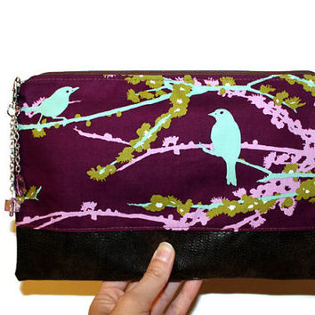 Sparrow print two-tone clutch, faux crocodile leather bag, date night clutch, hand purse, zippered pouch, bridesmaid clutch.