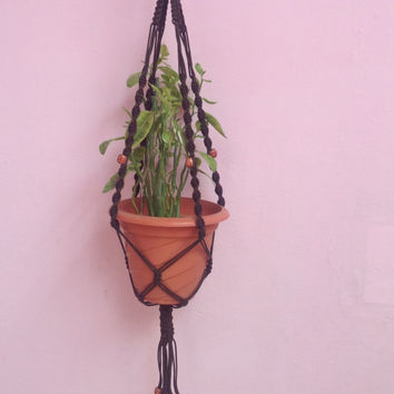 Black Hanging planter/ Macrame plant hanger/ plant holder /pot hanger/ Plant decor indoor outdoor garden Decor