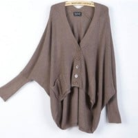2012 Womens Batwing Sleeves Knitwears V Neck Sweaters Asymmetric Hem Cardigans
