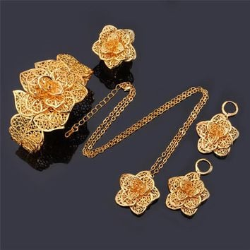 Vintage Big Flower Jewelry Sets Necklace Cuff Bracelet Earrings And Ring