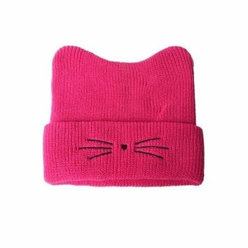 Cat Ears Beanie Hat with Whiskers