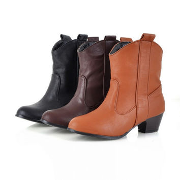 Pu Leather Ankle Boots Low Chunky Heels 9747