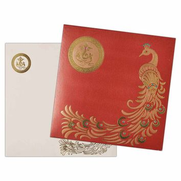 Exotic Peacock on Rich Red Invitation Card-KNK2839