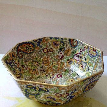 Rare Fenton Chintz Octagon Bowl Blue Paisley pattern Made in England. J. Kent Fenton Old foley Ware