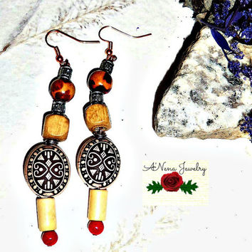 "Earrings: Handmade Red Coral, 3 Hues of Wood, And Swarovski Crystals ""Secure"""