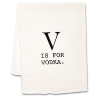 """V is For Vodka"" Tea Towels, Set of 2, Tea towels & Dishtowels"