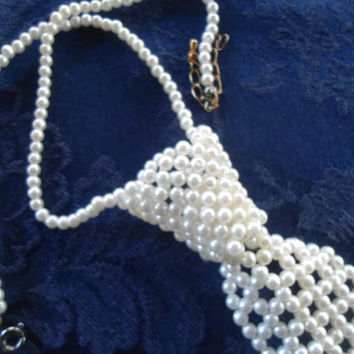 Vintage 80' Pearl Beaded Tie Necklace Womens Accessories Prom Wedding White Pearl Adjustable Mens Tie Vintage 80's 90's 70's Style Jewelry