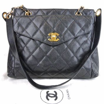 AUTHENTIC CHANEL BLACK QUILTED CAVIAR SKIN LEATHER CC CHAIN SHOULDER BAG