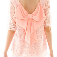 Peach Lace Detail Bow Back Top – Pink Slip Boutique