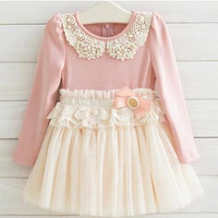 2015 New Arrival Kids Dress Korean Style Spring And Autumn Long sleeve Dress Pearl Bowknot Grenadine Children Dress Girls clothes.