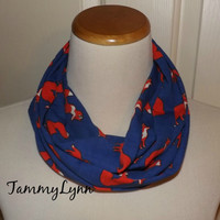 Ready To Ship! Childs Royal Cobalt Blue and Orange Fox Family Animal Jersey Knit Fashion Infinity Scarf Girls and Boys Accessories
