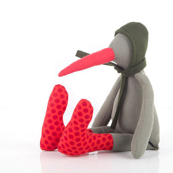 Modern baby toy - Plush olive rare bird doll with long beak wearing red polka dots socks &  woolly green hood hat , timo handmade eco doll