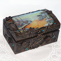 Hand decorated old copper,Wooden jewelry box with decoupage,Natural Leather Flowers, Copper Elements.(6 2/3''   - 4 1/3''  - 3  1/2'')