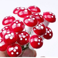 10Pcs Foam Mini Red Mushroom Garden Ornament Miniature Plant Pots Fairy DIY Dollhouse Decor