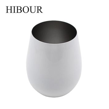 HIBOUR Wine Tumbler with Clear Lid Stainless Steel Vacuum Insulated Stemless Keeping hot/cold 6 Hours Double Wall Cups White