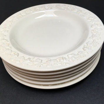 Wedgwood Etruria Barlaston Embossed Queensware Bread & Butter  Plates - Set of 6 Vintage - Cream on Cream - England