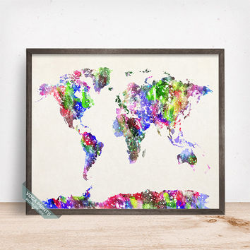 World Map Print, Watercolour World Map, World Map Poster, Giclee Art Poster, Kids Room Decor, Wall Decor, Office Decor, Mothers Day Gift