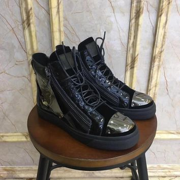 Giuseppe Zanotti Gz Tylor Black Patent Leather Shoes High-top Sneaker Boots