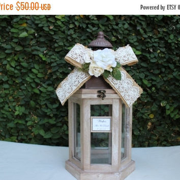 ON SALE Wedding Card Box /  Lantern small advice Wood card Box / Rustic Wedding wishes Card Holder Box / Rustic Wedding Decor