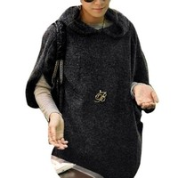 Allegra K Winter Women Half Batwing Sleeve Knitting Hooded Shirt