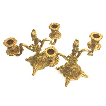 Vintage Gold Candelabra Candle Holder (1 Pair)