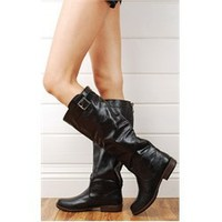 Bamboo Montage01n Black Back Zipper Leatherette Riding Boots and Womens Fashion Clothing & Shoes - Make Me Chic
