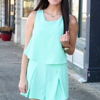 Day to Night Open Back Romper {Mint}