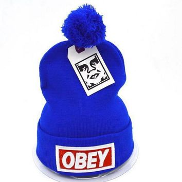 Obey Women Men Embroidery Beanies Knit Wool Hat Cap-6