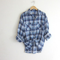 Vintage Plaid Flannel / Grunge Shirt / White & blue washed out button up shirt