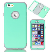 "For Apple iPhone 6 6S Plus 5.5"" Phone Cases Silicone Hybrid Shockproof Case Covers Fundas w/Screen Protector Film+Stylus Pen freeshipping=CA007"