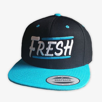 Fresh Snapback - Black and Teal Snapback cap with Urban design embroidered