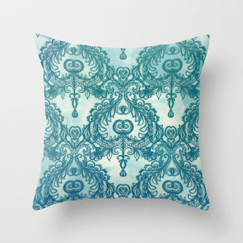 Vintage Wallpaper pattern in cobalt blue & emerald green Throw Pillow by Micklyn | Society6