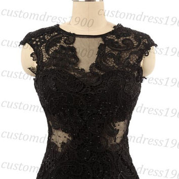 Mermaid Evening Dress Cap Sleeve Lace Formal Women Dresss,Sexy Black Handmade Lace Evening Gowns/Prom Dress/Party Dress