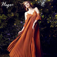 Hego New Pleated Bohemian Loose Lace V-Neck Off The Shoulder Chiffon Summer Dress Sexy Costumes Boho Dress