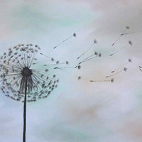 Dandelion Art 8x10 Painting Print Neutral Home Decor Dandelion Nursery Art