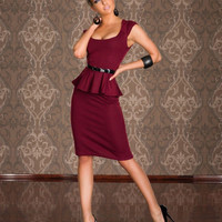 Wine Red Sleeveless Peplum Midi Pencil Dress