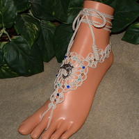 Crochet Beaded Dolphin Barefoot Sandals, Beach, Womens, Shoes, Accessories, Anklet, Foot Chains, Jewelry, Charms