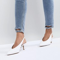 Carvela Amy White Point Leather Kitten Heels at asos.com