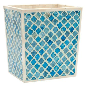 Prescott Turquoise Rectangle Waste Basket