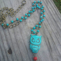 Owl necklace, Turquoise owl necklace , boho owl jewelry, turquoise stone owl, gift for her, gift for teen, stocking stuffer