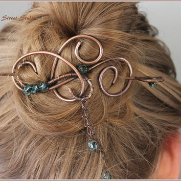 "Hair Pin Beaded 3 1/4"" with Turquoise Glass Beads, Wire Wrapped, Bun Holder, Curly, Metal Hair Slide, Blue, Hair Barrette, Hair Accessories"